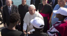 Le pape  rencontre les réfugiés