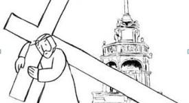 Chemin de croix à Liège pour le Vendredi saint