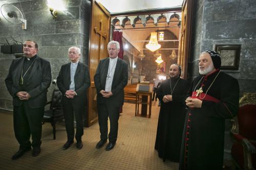 Irak, koerdistan, 18 september 2015 Drie bisschoppen (Jozef De Kesel, Leon lemmers en Guy Harpigny) op solidariteitsbezoek aan de christelijke gemeenschap in Iraaks Koerdistan, die op de vlucht voor IS klooster van Mar Mattai aan de frontlijn
