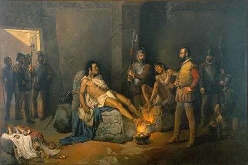 La torture de Cuauhtémoc - Leandro Izaguirre (1867 - 1941)