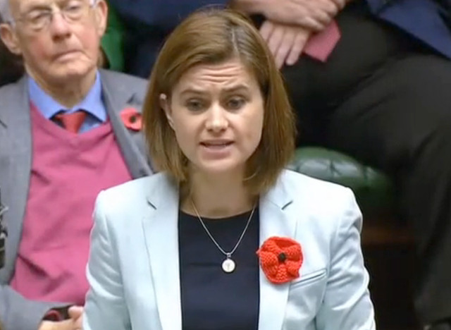"A video grab taken from footage broadcast by the UK parliamentary recording unit (PRU) on June 16, 2016 Labour party member of parliament Jo Cox speaks during a session in the House of Commons in central London on November 17, 2015. British lawmaker Jo Cox has been shot and injured in her constituency in northern England, media reported on June 16. Jo Cox, 41, a mother of two, was left bleeding on the pavement after the incident in Birstall in Yorkshire, the Press Association cited an eyewitness as saying. / AFP PHOTO / PRU / PRU / RESTRICTED TO EDITORIAL USE - MANDATORY CREDIT "" AFP PHOTO / PRU "" - NO MARKETING NO ADVERTISING CAMPAIGNS - NO RESALE - NO DISTRIBUTION TO THIRD PARTIES - 24 HOURS USE - NO ARCHIVES"