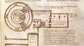 Le Saint-Sépulcre de Jérusalem au VIIe siècle d'après Arculfe (plus ancien plan du site connu).