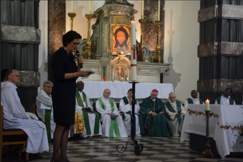 La présidente Hilde Kieboom de Sant'Egidio à la fin de la messe d'action de grâce (copyright Filip Wieëers - Sant'Egidio)