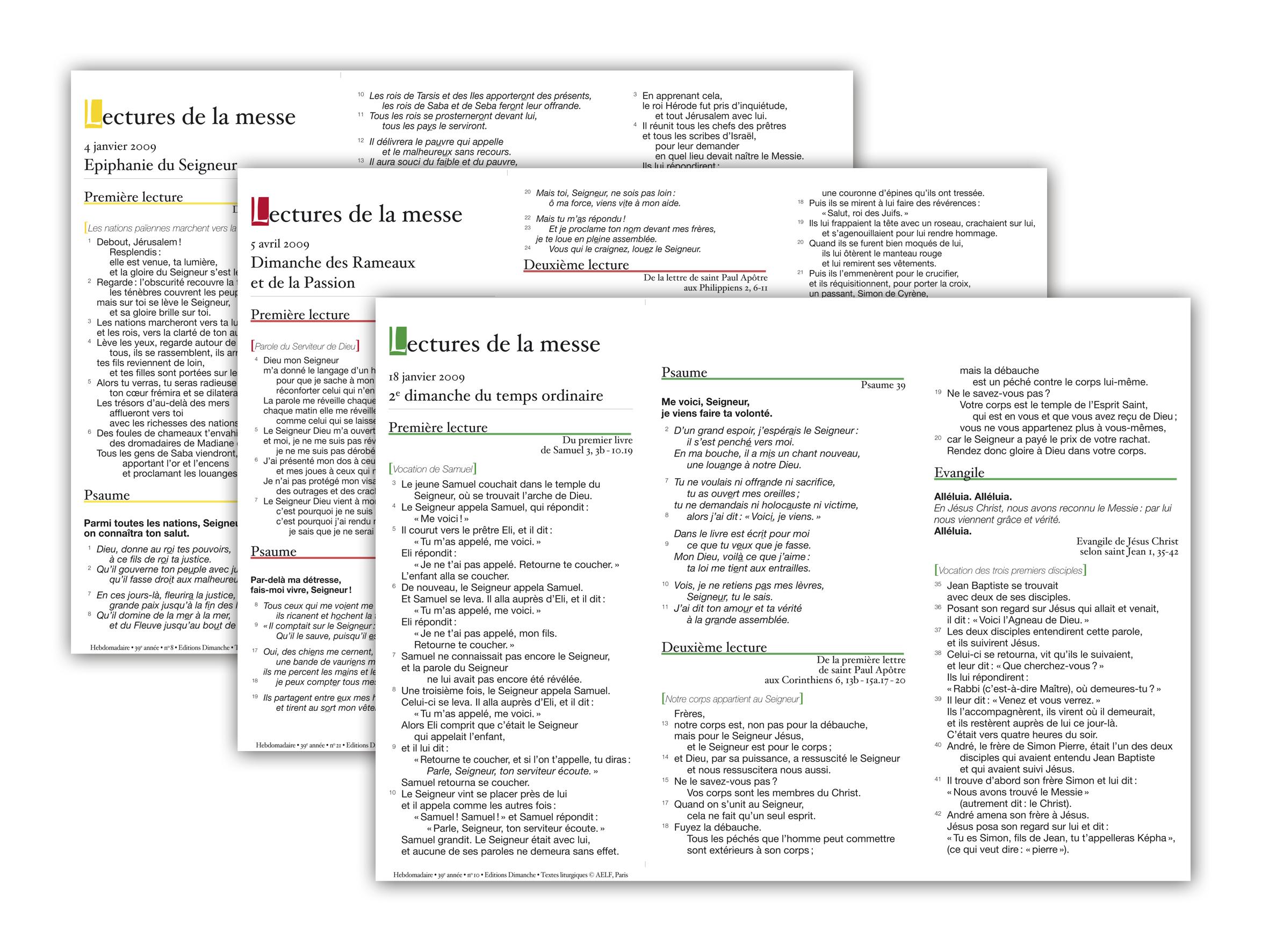 """Découvrez les feuillets """"Lectures de la messe"""" imprimés par CathoBel"""