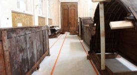 La voûte de la crypte comme sol de la sacristie