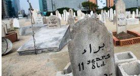 Un cimetière symbolique alerte sur le sort des enfants syriens
