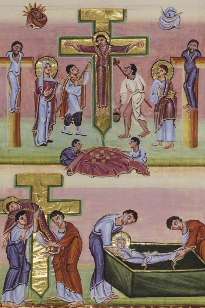 La crucifixion, descente de croix et mise au tombeau